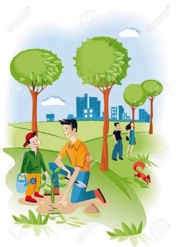 12875561-enfant-avec-son-père-planter-une-graine-dans-un-jardin-il-ya-plusieurs-arbres-et-un-écureuil-derrière-eux-