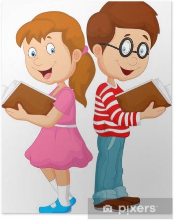 plakaty-cartoon-dzieci-czytania-ksiazki